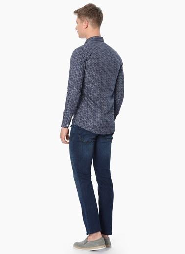 George Hogg Desenli Slim Fit Uzun Kollu Gömlek Lacivert